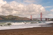 The Golden Gate Bridge and Marin Headlands viewed from Baker Beach in San Francisco.
