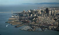 Aerial view of San Francisco waterfront and Embarcadero.