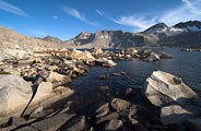 A High Sierra lake at 11,500 feet elevation in Evolution Basin along the John Muir Trail.
