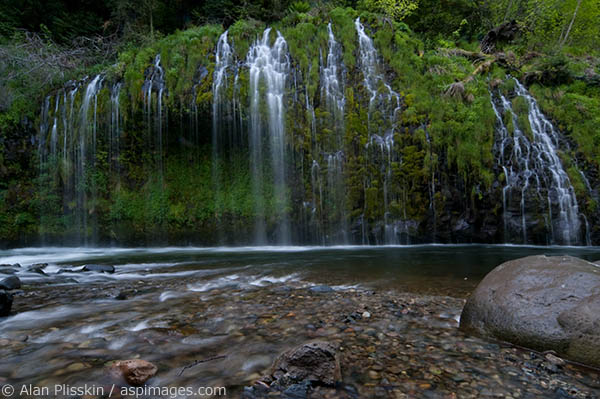 Like a wall of water, Mossbrae Falls enters the upper Sacramento River near Dunsmuir, California.