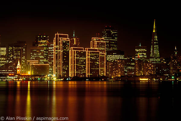 San Francisco buildings lit up for the holiday season.