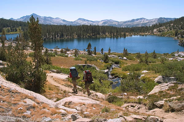 High Sierra Lake on route to Muir Trail Ranch where hikers resupply while hiking the John Muir Trail.