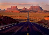 The highway leading into Monument Valley at dawn.