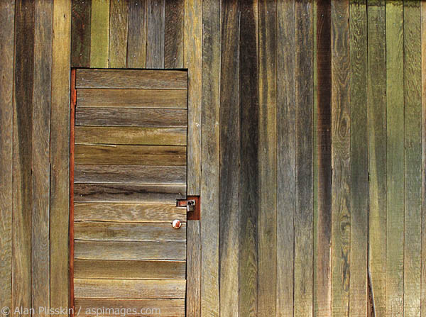 The textures of this old wood storage building show its age beautifully.