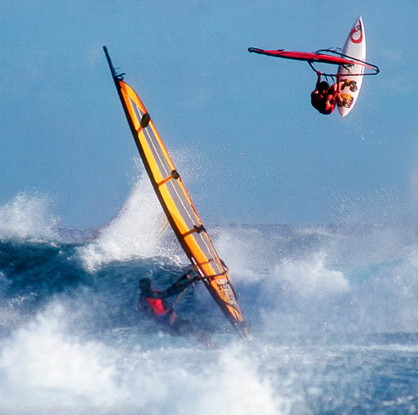 Ho'okipa Beach in Maui is know for world class surfing and windsurfing.
