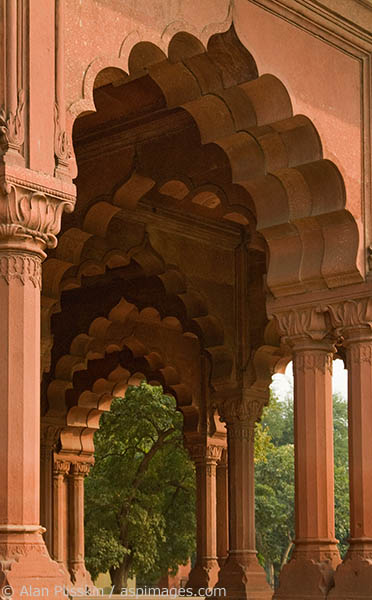 Sculpted arches at the Red Fort in Dehli.