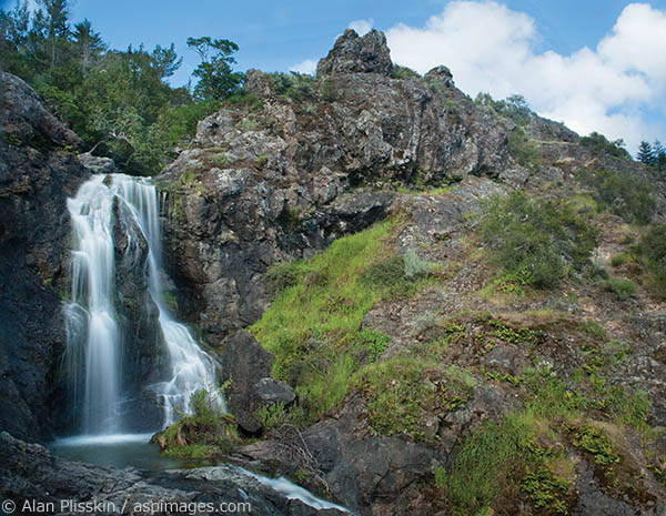A long strenuous hike is rewarded with this west Marin County waterfall.