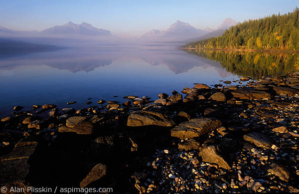 Lake MacDonald in Glacier National Park photographed late in the afternoon.