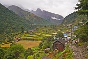 Shortly after leaving the town of Lukla you walk through this valley on the way to Mount Everest.
