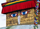 Lord Buddha watches over the Bodnath complex.