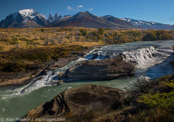 This waterfall in the Torres del Paine region of Chile was flowing dramatically.  This cascading torrent of glacial water has carved the riverbed over thousands of years.