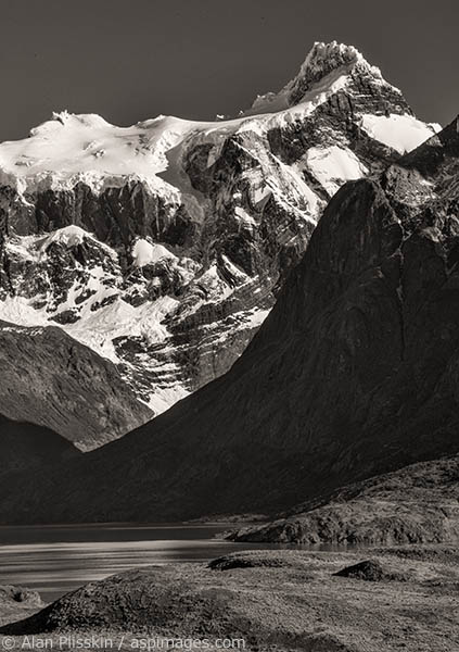 The layers of ridges in this central Torres del Paine area called out for a black and white image.
