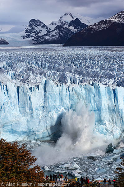 The Moreno Glacier in Argentina had walls that rose over 200 feet above the water.  While we were watching the glacier there were regular calfings occurring.